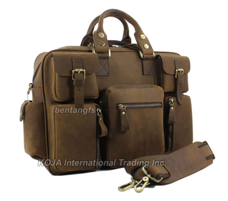 Vintage Crazy Horse Leather Men S Travel Bags Of Trip Duffle Bag Luggage Genuine Carry On