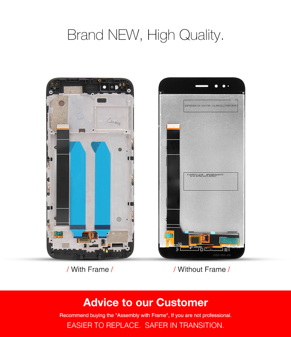 HTB1OeMLgpGWBuNjy0Fbq6z4sXXaK For Xiaomi Mi A1 LCD Display + Frame 10 Touch Screen For Xiaomi Mi 5X LCD Digitizer TouchScreen Panel Replacement Spare Parts
