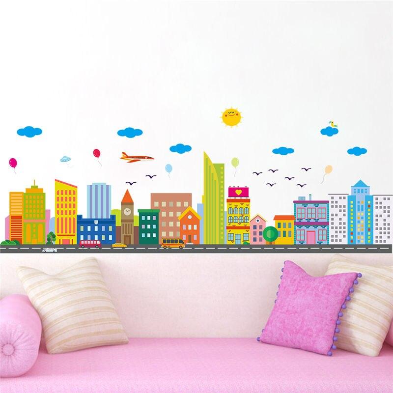 Cartoon Skyscraper Wall Stickers Birds Cars Balloon Airplane Home Decorations Livingroom Decals Kids Bedroom Mural Art Kids Gift