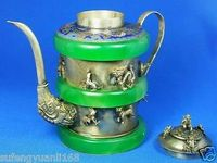 Chinese Ancient Handmade Silver Monkey Teapot Free Shipping