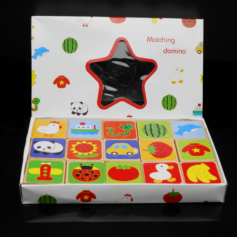 Free Shipping Wooden Fruit Matching Domino 30 Pieces Of Animals, Fruits And Animal Building Blocks, Wooden Educational Toys