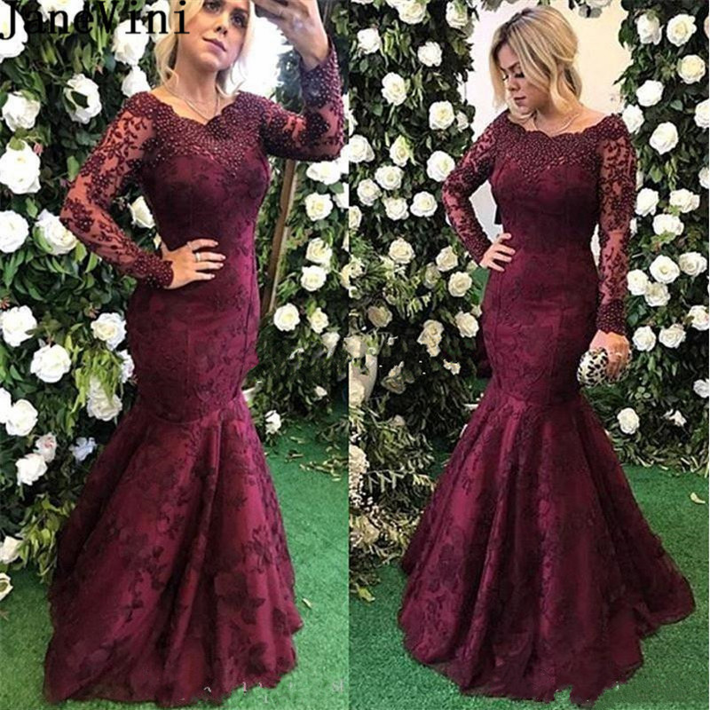 JaneVini Elegant Burgundy   Bridesmaid     Dress   Mermaid Long Sleeve Pearls Lace Women Wedding Guest   Dress   sukienki damskie na wesele