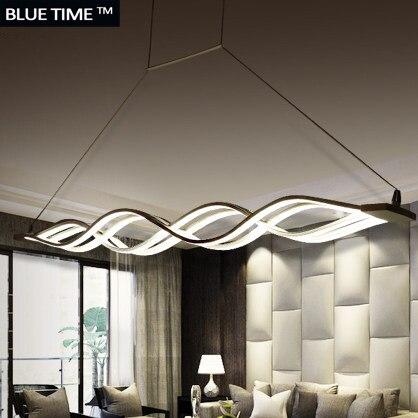 € 55.69 53% de réduction|Vague design lustre pour salle à manger noir blanc  lustre lumières moderne lustre led éclairage AC 85 260 V 100 CM 120 ...