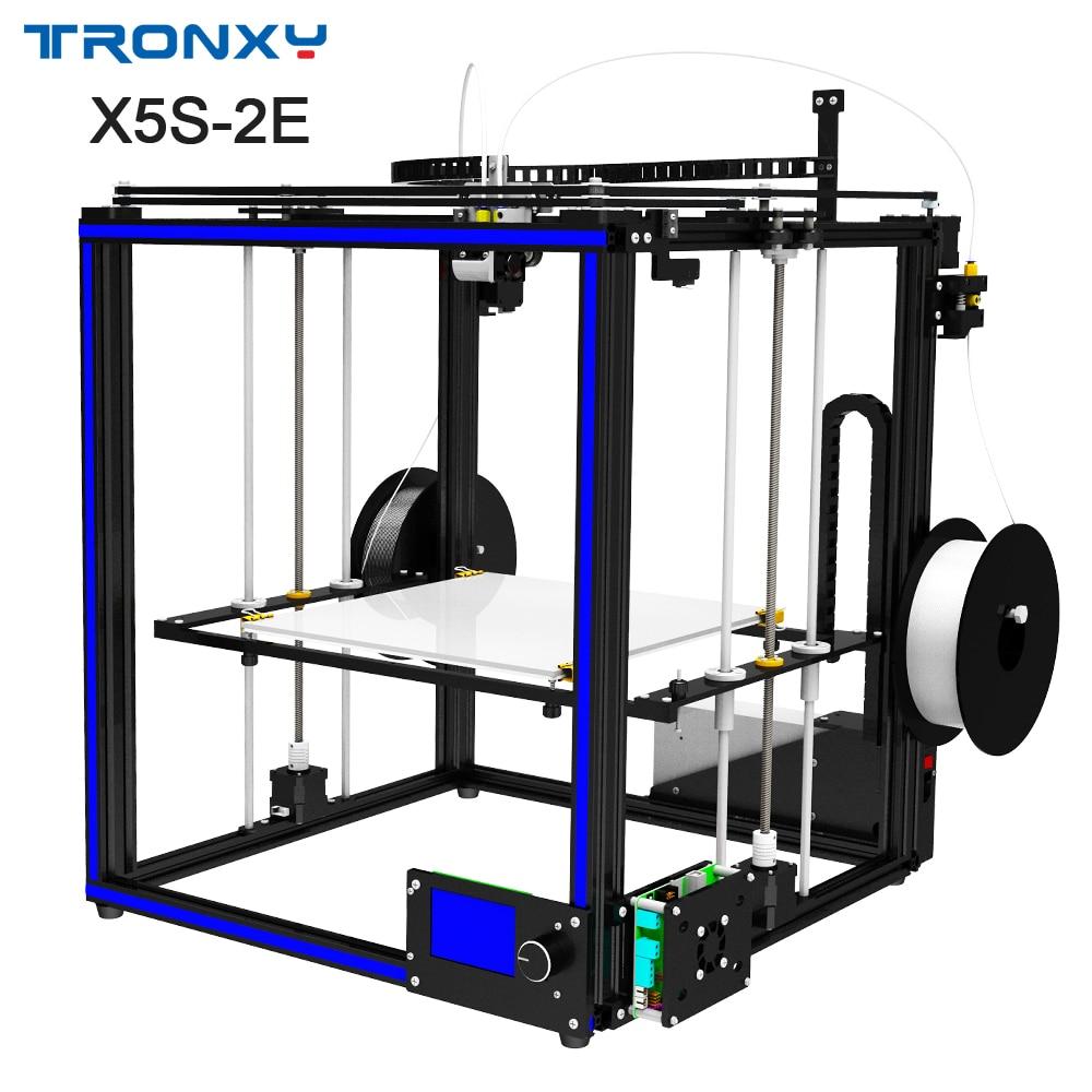 TRONXY Newest 3D printer X5S-2E diy printing machine Double Extruder multicolor printer tronxy x5s 3d printer for metal fdm 3d printing diy kits