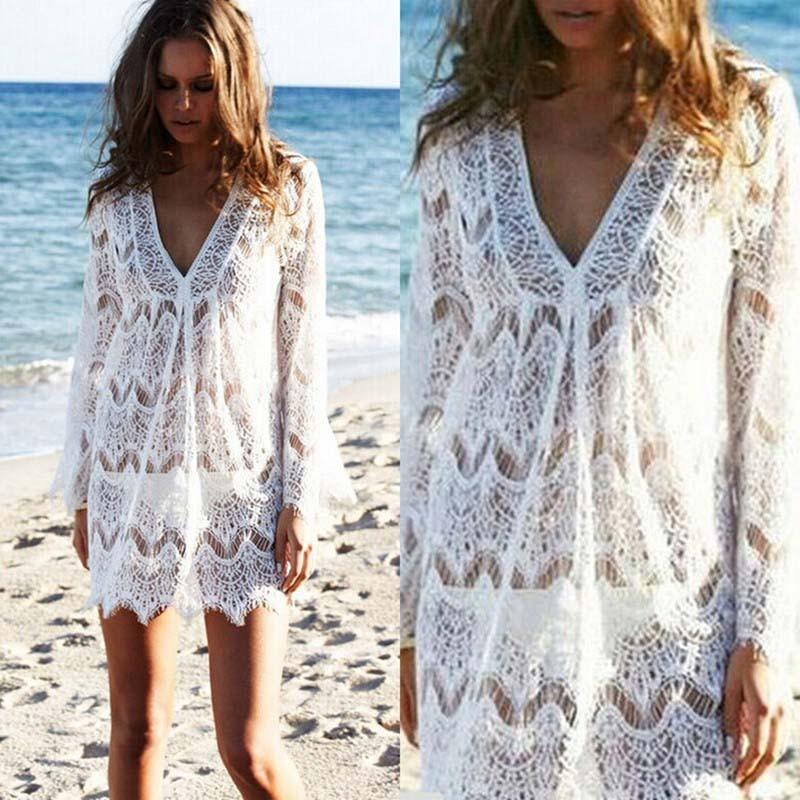 12b05b2dbea2 US $5.22 25% OFF|Women White Lace Crochet Pareo Beach Cover Up Salida De  Playa Pareo Cover ups Swimwear Cover up Top Lace Playa Beach Tunic Dress-in  ...
