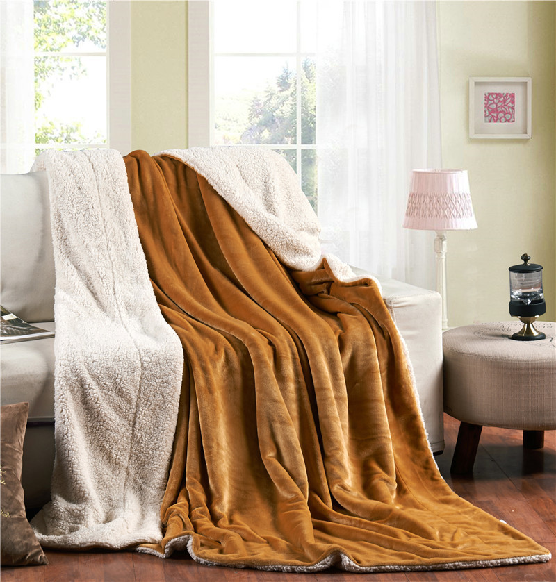 ФОТО 150x200cm Brand 2 Layers Sherpa Blankets Thicken Winter Spring Warm Thick Fleece Blanket Bed article Throws sofa 13 colors B378