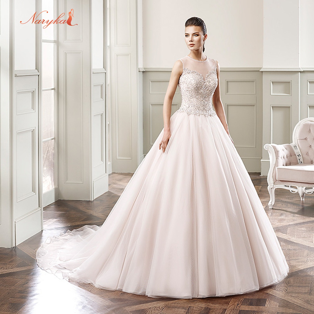 Naryka New Arrive Elegant High Neck Crystal Ball Gown