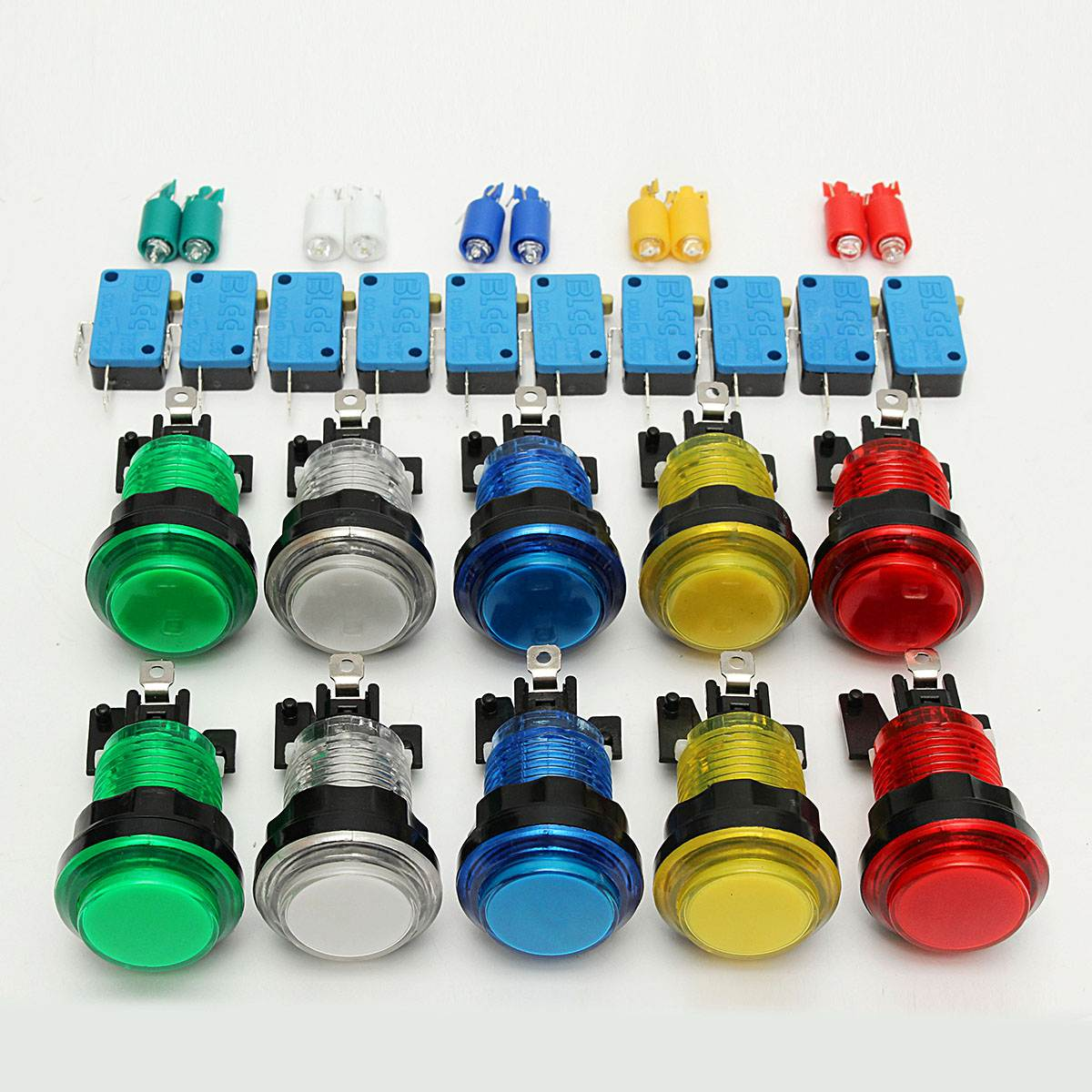 10 Pcs Switches LED Light Illuminated Full Colors Push Button With Micro Switch Arcade DIY kits Parts