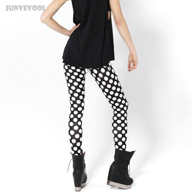f6d01049b4a1 Noir Leggins Leggings Punk Blanc Dot Pantalon Long Pantalon Mince de Femmes  Mixte Couleur Patchwork Maigre