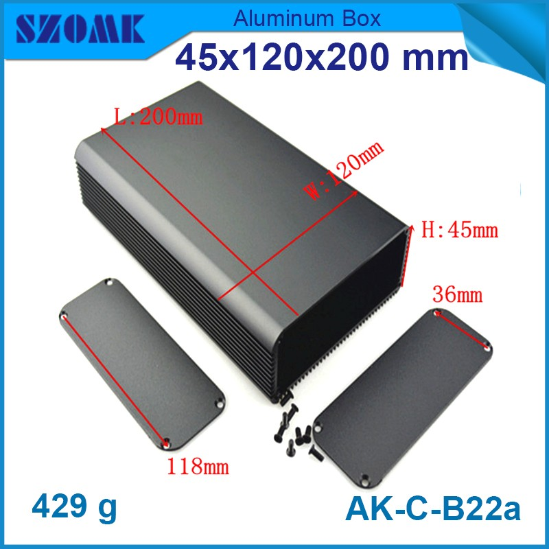 10 pieces szomk aluminum extrusion profile aluminium electronics enclosures black case instruments 45(H)x120(W)x200(L) mm 1 piece free shipping wire drawing black color 45 h x152 w x200 l mm aluminium junction box manufactures in china