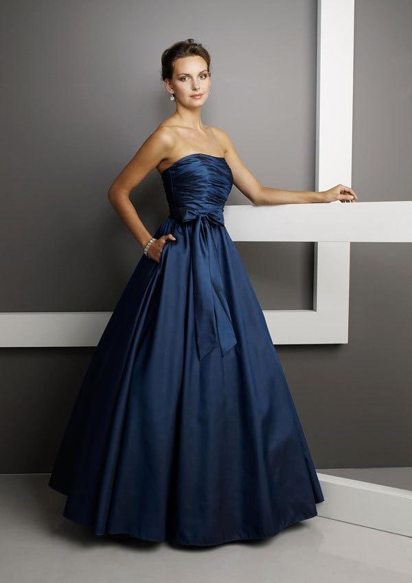 elegant navy blue long bridesmaid dresses with pocket 2016
