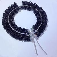 silver bowknot black spinel round faceted chocker necklace 42 43cm ALL HANDMAKE wholesale beads nature FPPJ woman wedding 2019