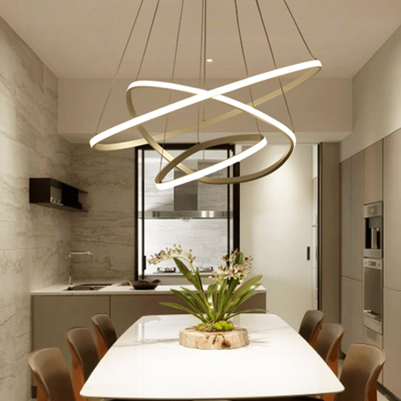Circle Rings Modern LED Pendant Lights for Dining Room Living Kitchen Room Hanging Hanglampen Suspension Pendant Lamp Fixtures modern led pendant lights for dining living room hanging circel rings acrylic suspension luminaire pendant lamp lighting lampen