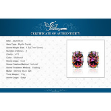 1.5ct Women Fashion Genuine Natural Fire Rainbow Mystic Topaz Earrings Stud Oval Solid 925 Sterling Silver