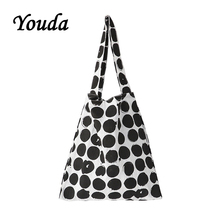 Youda Polka Dot Large Capacity Female Linen Bag Korean Ladies Simple Literary Style Shoulder Bags Casual Handbag Classic Tote polka dot tote chain bag