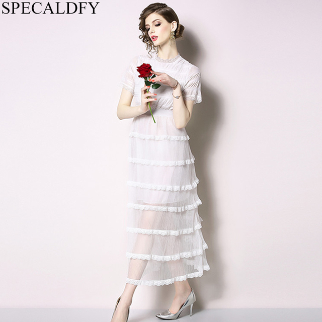 e44974e61e 2019 Summer Dress Women Short Sleeve Sexy White Mesh Dress Ladies Sheer  Elegant Ruffle Midi-calf Dresses Vestidos Robe Femme