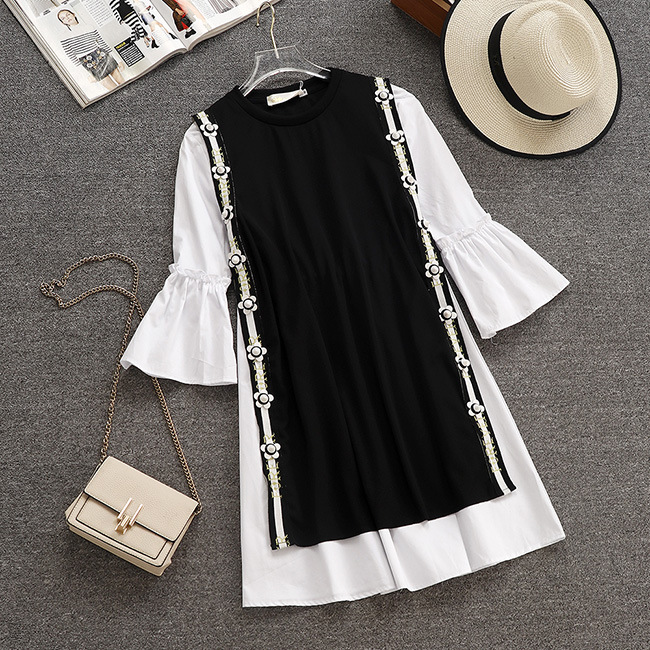 New autumn and winter version of temperament long vest trumpet sleeve shirt dress two sets of