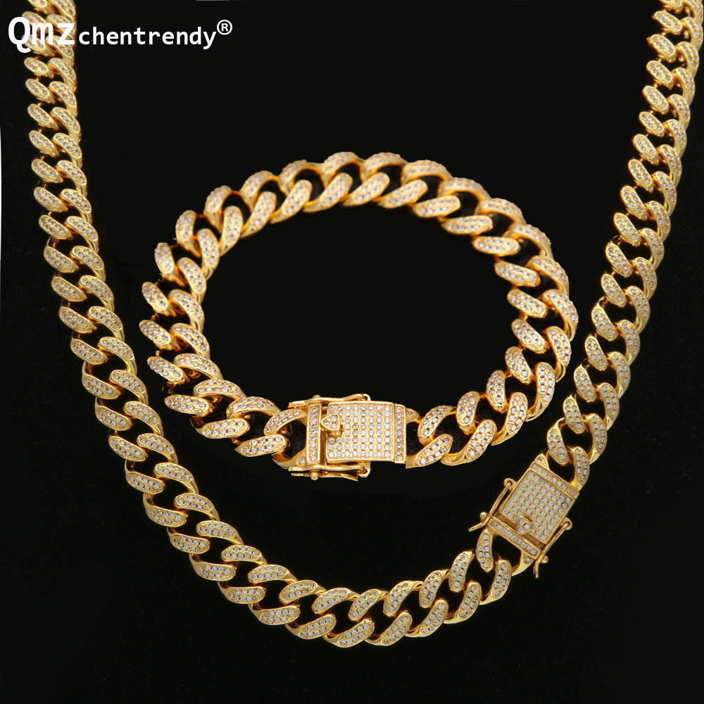 Hip Hop 12mm Mens Bling Fully Iced Out Miami Cuban Link Chain Necklace  Bracelet Hipster Cz 390d56e59922