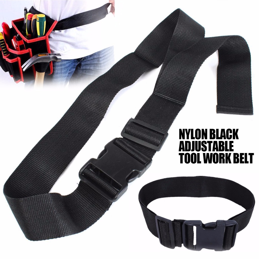 1pc Quick Release Nylon Belt Adjustable Work Waist Bag Belts Black Waistband Pouch Bag Accessories