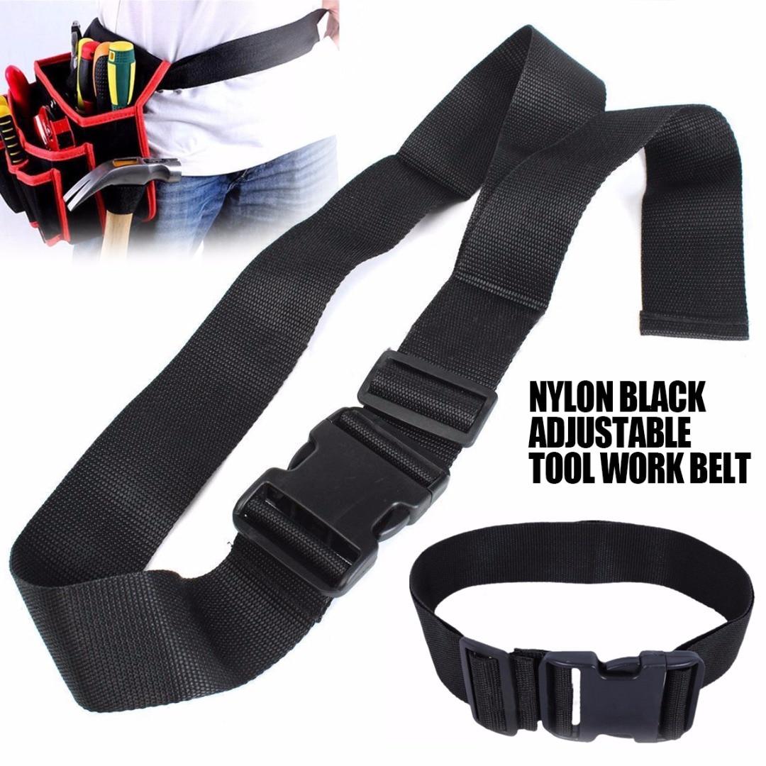 1pc Quick Release Nylon Belt Adjustable Work Waist Bag Belts Black Waistband Pouch Bag Accessories