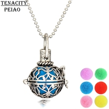 Vintage Aromatherapy Locket round hollow out Necklace pendant Essential Oil Diffuser Filigree Necklace Colorful Diffuser pads