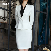 RUGOD Fashion Female Office Lady Skirt Suits Sets V Neck Long Sleeve Hidden Breasted Tops Sets Knee Length Skirt For Women