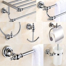 Bathroom Accessories Chrome Polished Towel Shelf Toilet Paper Holder Soap Holder Towel Rack Tumble Holder Bathroom Hardware Set bathroom hardware accessories chrome single towel bar rail toilet paper holder shower soap dish pump brush holder glass shelf