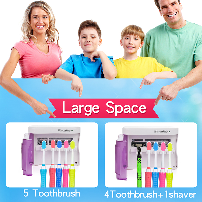 Brand Warmlife Dental Care Family UV Toothbrush Sanitizer Wall-Mounted Toothbrush Holder UV Light Sterilizer Box Zero Germ Oral uv box toothbrush sanitizer sterilization holder cleaner box home health dental care toothbrush sterilize storage case