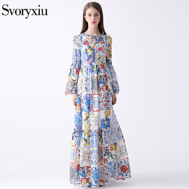 6d75351e9ea7 Svoryxiu 2018 Summer Women's Bohemian Chiffon Maxi Dress Chic Long Sleeves  lemon Floral Print Runway Floor Long Dress