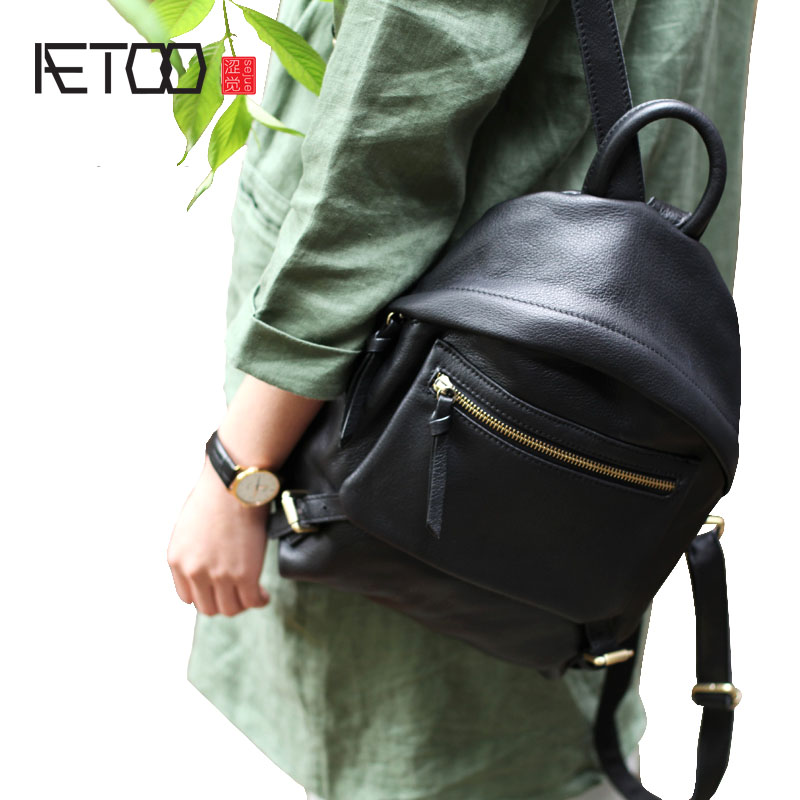 AETOO Black first layer soft leather shoulder bag lady 2018 new casual pure leather leather shell small backpack aetoo original backpack men leather casual travel backpack lady first layer leather handmade