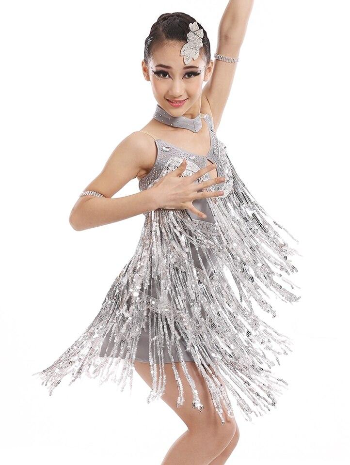 Filles danse latine robe pour salle de bal robes danse Tango danse jupe 2017 nouveauté frange dos nu