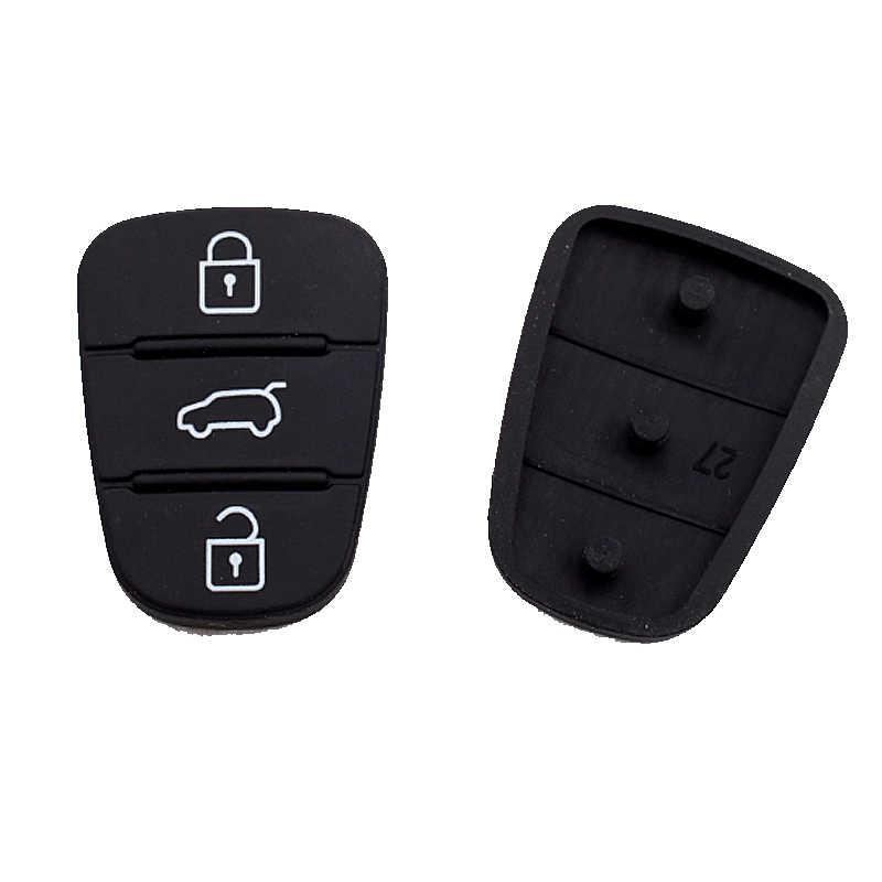 3 düğmeler kauçuk düğme Pad için Hyundai Solaris Accent Tucson l10 l20 l30 Kia Rio sportage Ceed venga katlanır araba anahtarı kapağı