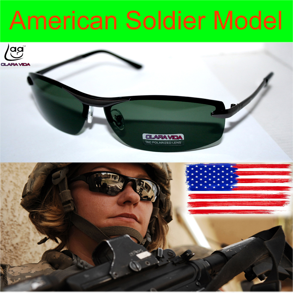 =CLARA VIDA BRAND=Luxury Us Soldier Model Driver's Tac Enhanced Polarized Polaroid Uv 400 Mens Sunglasses With Foam Bag N Box