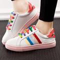 2016 Autumn Fashion Low Canvas Flat Women Rainbow Color Lace Up Soft Outsole Casual Platform Shoes Zapatos Mujer