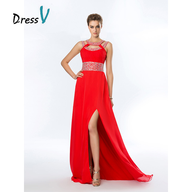 Fashion Long Red Chiffon Bridesmaid Dresses 2017 Y Side Sequins Maid Of Honor Gown Beaded