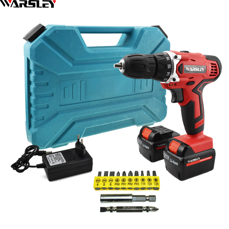 21v Double speed Electric Drill Electric Screwdriver Power Tools Cordless Drill Screwdriver Mini Battery Drill 2pcs Batteries 21v power tools double speed hand electric drill cordless drill battery drill electric screwdriver mini drilling 45 n m torque