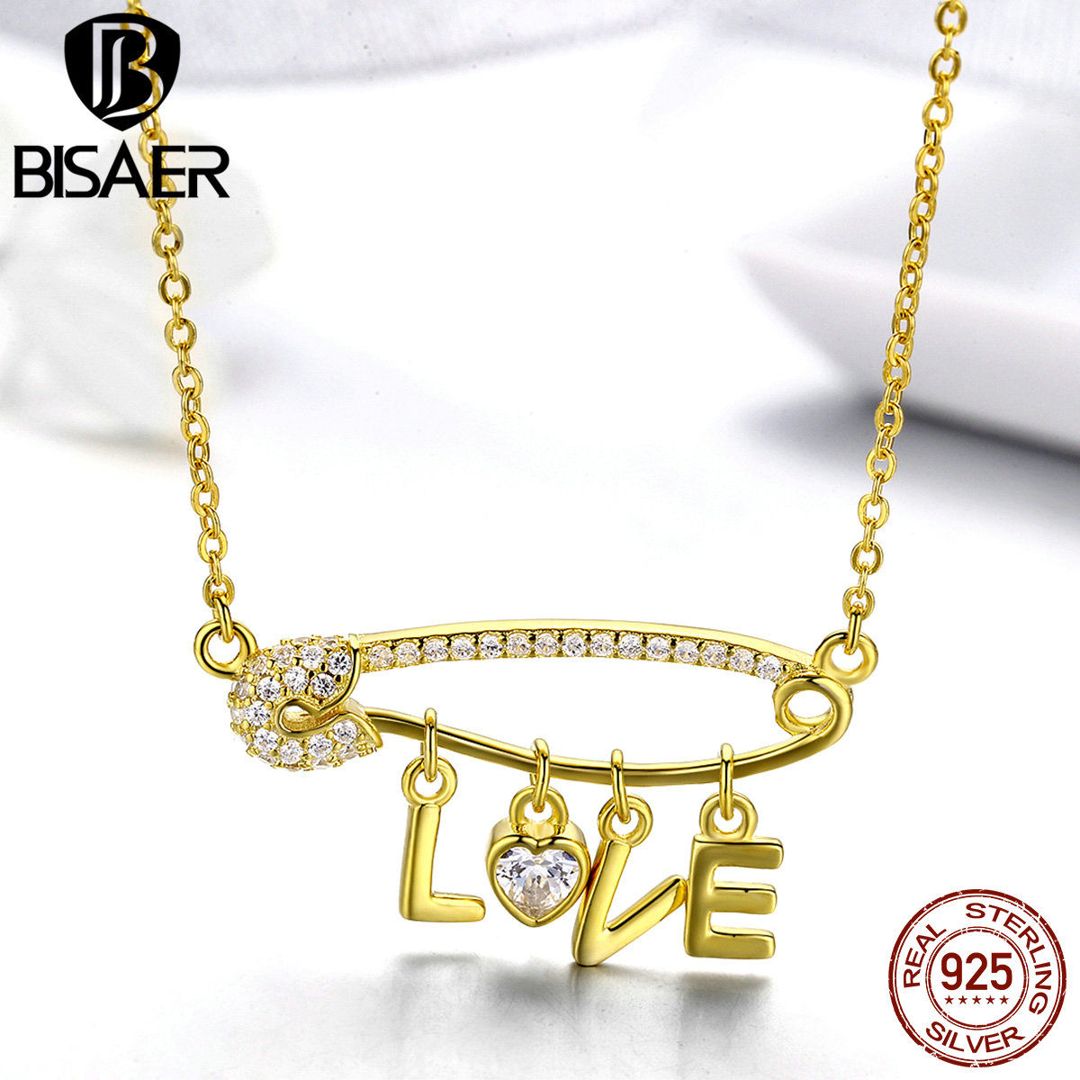 BISAER 100% 925 Sterling Silver Collar Romantic LOVE Letter Pendants Gold Color Love Necklaces Women Luxury Jewelry ECN324