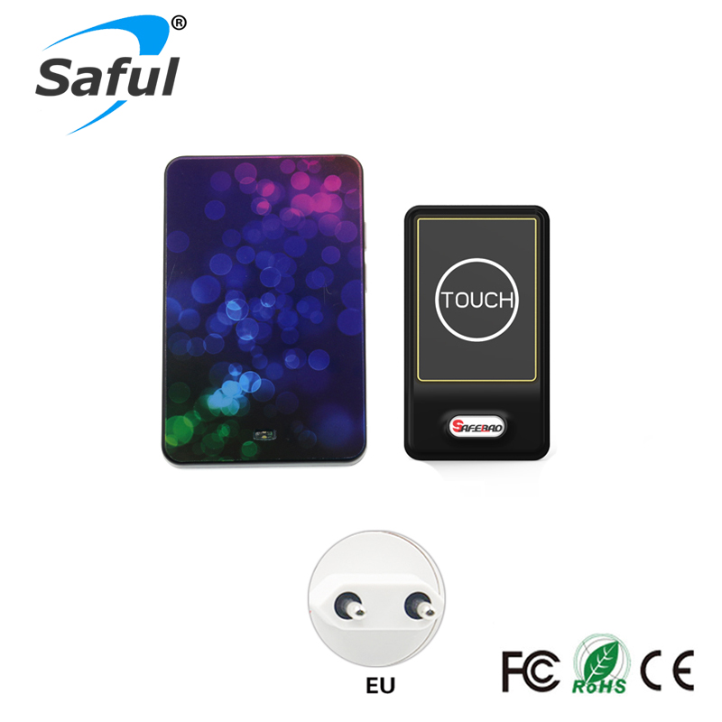 Saful Drahtlose türklingel system fern touch-taste 1 Outdoor-Sender + 1 Indoor Receiver mit EU/US/AU/uk-stecker