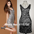 Free Shipping 2017 Sexy V-neck Fashion Mini Disco Dress Paillette Elastic Sleeveless Dress Short Sequined Party Dress For Women
