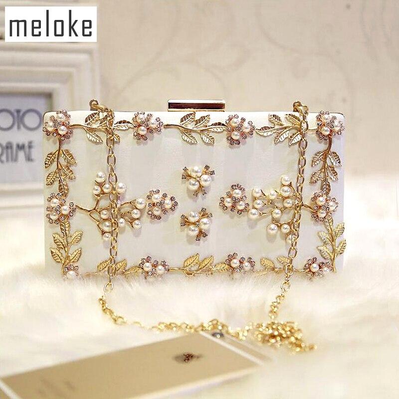 Meloke 2019 핸드 메이드 저녁 가방 럭셔리 다이아몬드 저녁 식사 클러치 결혼식 파티 가방 여자 2 색 MN258
