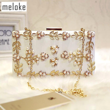 Meloke 2019 handmade evening bags luxury diamond dinner clutch wallets wedding party bags for girls 2 colors MN258