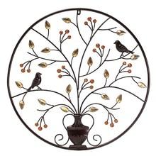 KiWarm VintageBlack Birds Tree Metal Iron Sculpture Ornament for Home Room Wall Hanging Decoration Art Crafts Gift 62cm/24.4inch