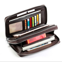 DULIN Men Wallet Leather Mens Clutch Wallets Purse Long Zipper Large Capacity Coin Pocket PU Multi-Card Handy Bags