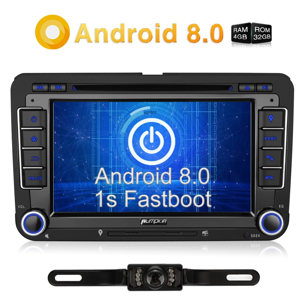 Pumpkin 2 Din 7'' Android 8.0 Car Stereo DVD Player Octa-Core 4GB RAM GPS Navigation For VW/Skoda/Seat/Golf Car DVR FM Radio isudar car multimedia player automotivo gps autoradio 2 din for skoda octavia fabia rapid yeti superb vw seat car dvd player