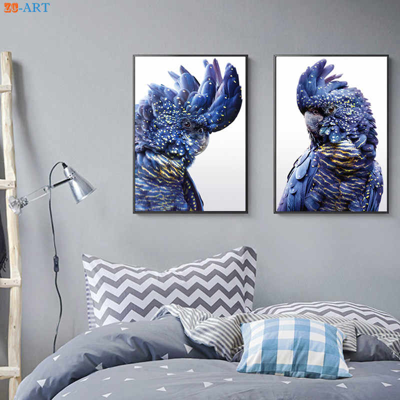 Australian Bird Print Black Cockatoo Wall Art Navy Blue Parrot Bird Posters and Prints Canvas Art Pictures for Living Room Decor