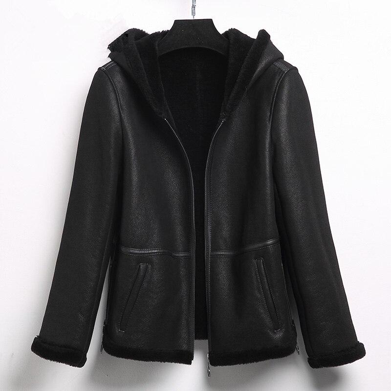 YOLANFAIRY двусторонний меховые куртки осень-зима теплые шерстяные пальто с мехом плюс Размеры 6 XL Куртка chaquetas invierno mujer MF510