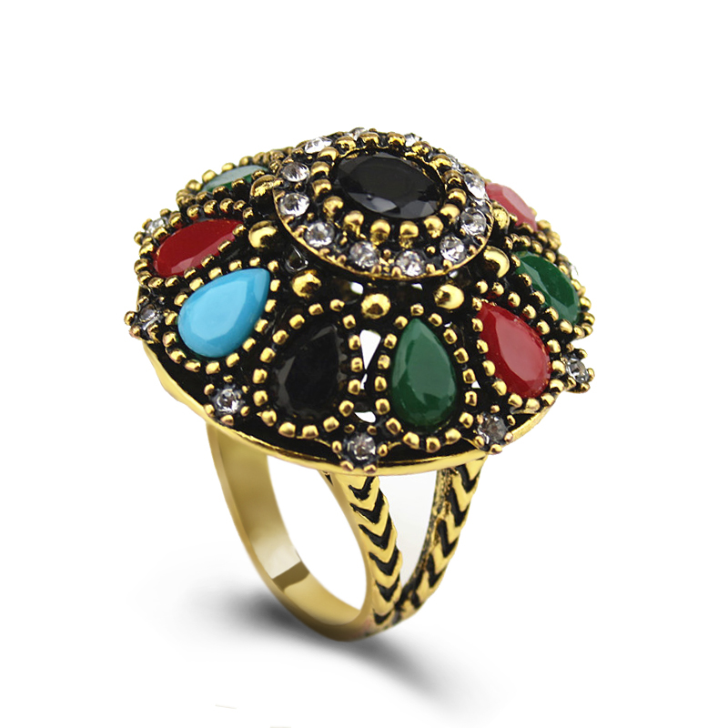 PULATU Antique Mosaic Resin Rings For Women Unique Gold Color Exaggerate Finger Ring Fashion Turkey Jewelry JZ0768