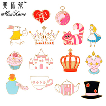Manxiuni 14pcs/set Colorful Beauty Girl Princess Dream Teapot Castle Crown Cartoon Brooch Button Pin Bag Denim Jacket Pin