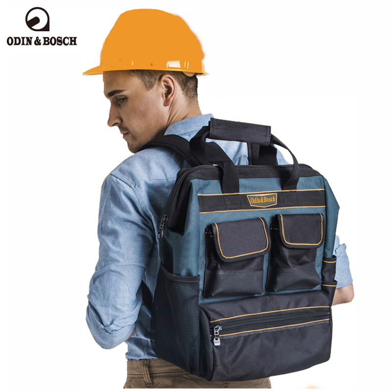 Odin&Bosch Double shoulder tool backpack canvas electrician double shoulder tool bag large capacity maintenance tool bag tool kit features oxford cloth backpack canvas thickening electrician package tool bag maintenance package