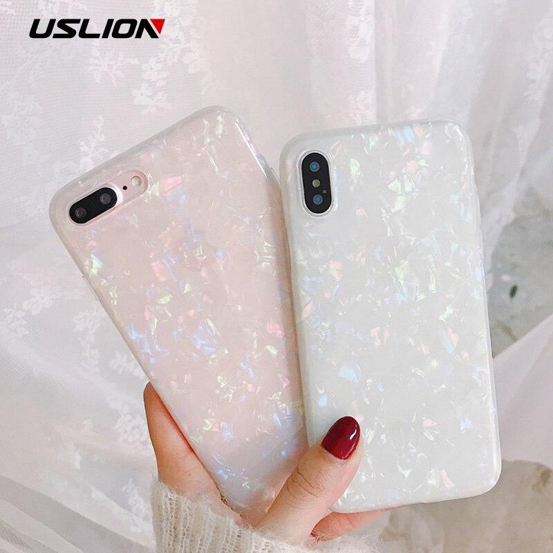 USLION Glitter Telefon Fall Für iPhone 7 8 Plus Traum Shell Muster Fällen Für iPhone XR XS Max 7 6 6 S Plus Weiche TPU Silikon Abdeckung